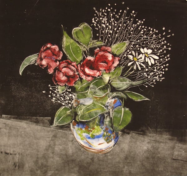 Large Vase Of Roses Monotype Art | East End Arts