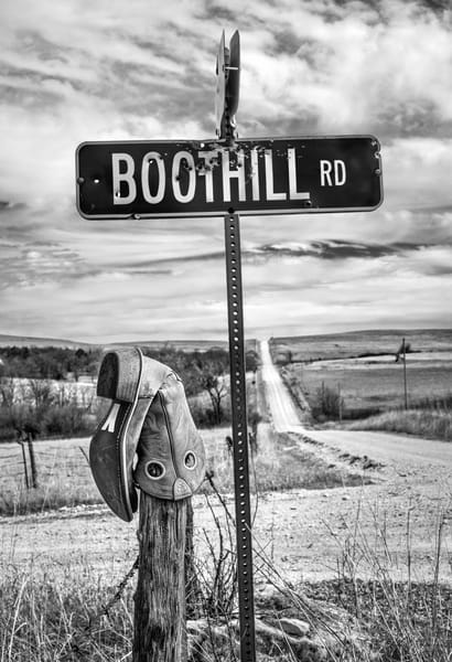 Americana fine art black and white photograph: Boothill RD, the Kansas Flint Hills by David Zlotky