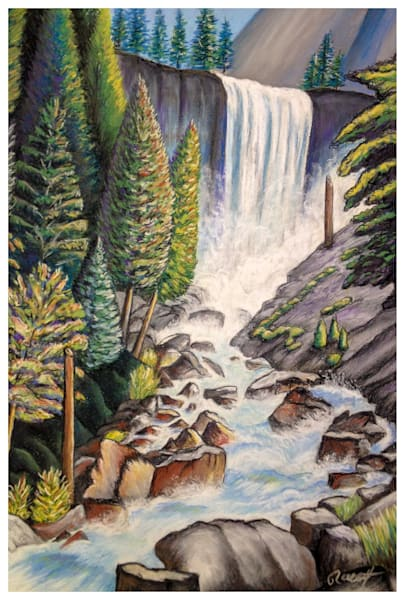 Vernal Fall Yosemite Drawing