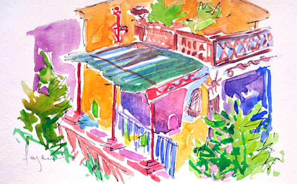 Tuscan Village Watercolor Painting by Dorothy Fagan, View From My Balcony