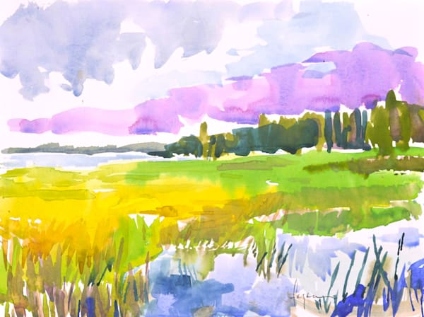 Coastal Marsh Watercolor Painting by Dorothy Fagan, Heartland Marsh