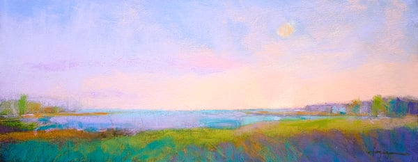 Pastel Coastal Sunrise Painting, Fine Art Print by Dorothy Fagan