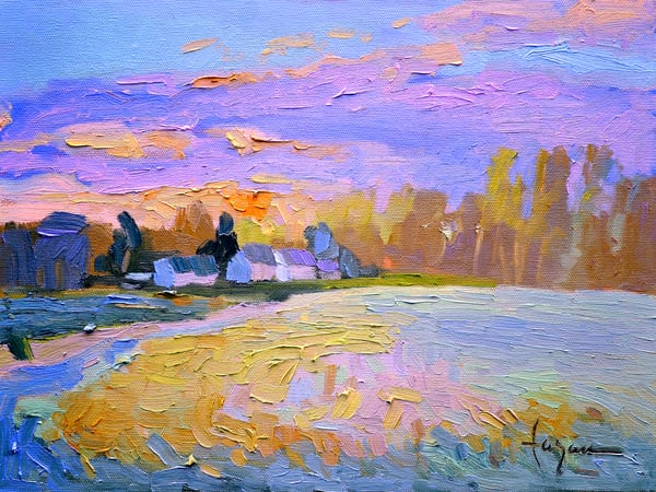 Tranquil Nocturne Painting Gloucester Virginia, April Sunset  by Dorothy Fagan