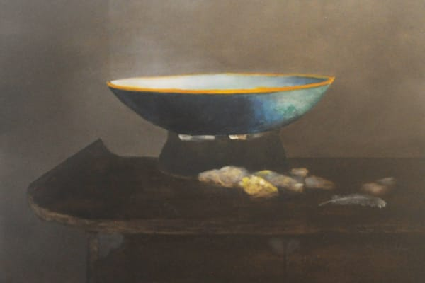 Illuminated Bowl, Stones, and Feather