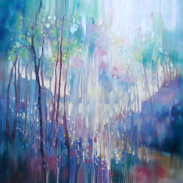 large oil painting semi abstract bluebell woodland clearing