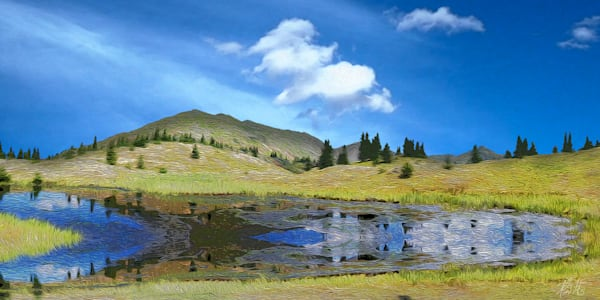 Reflections beneath Brown Mountain print of photograph of Brown Mountain, San Juan Mountains, Colorado for sale as digital art by Maureen Wilks