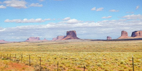 Monument Valley No. 2 print of photograph of Monument Valley transformed into digital art by Maureen Wilks