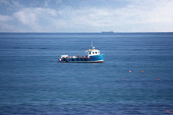Blue Boat, print of photograph of Blue Boat, North Sea transformed into digital art by Maureen Wilks
