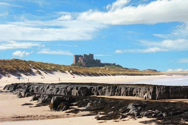 Bamburgh Castle, print of photograph of Bamburgh Castle, Northumberland transformed into digital art by Maureen Wilks