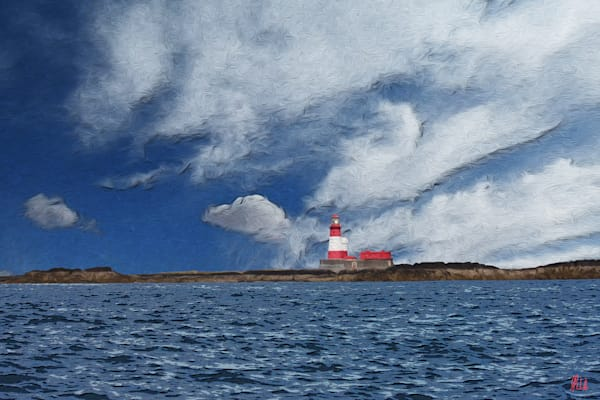 Red Lighthouse, print of lighthouse on Farne Island, North Sea transformed into digital art by Maureen Wilks