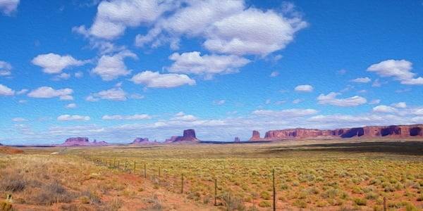 Monument Valley No. 1 print of photograph of Monument Valley transformed into digital art by Maureen Wilks