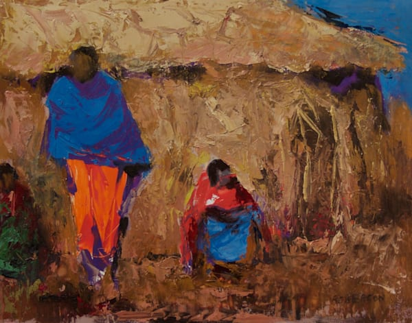 Evening Leisure-Maasai 11x14