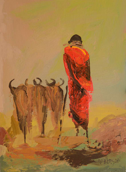 Maasai Cattle Herder At Sunset12x9