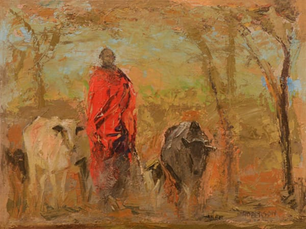 Maasai Man with Cattle9x12 oil on board 1700.00