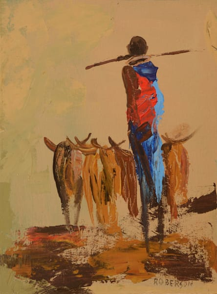 Maasai Herder With Walking Stick On Shoulders12x9