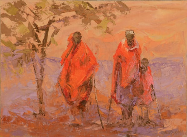Maasai Family Walking 12x16 oil on board 2500.00
