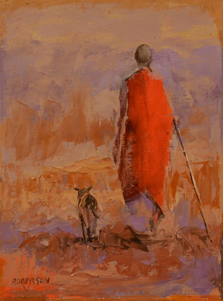 Maasai Man with his dog12x9
