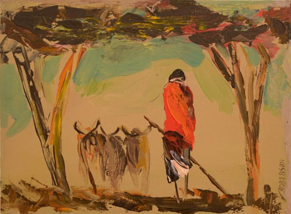 Maasai With Cattle And Two Acacia Trees 9x12