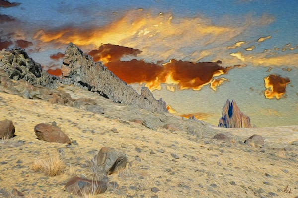Sunset at Shiprock print of photograph of Shiprock, New Mexico for sale as digital art by Maureen Wilks