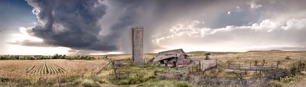 Panoramas/Wide View Collection | Derelict Barn, the Kansas Flint Hills - color. Fine art panoramic photograph by David Zlotky.