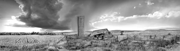 Panoramas/Wide View Collection - bw | Derelict Barn, the Kansas Flint Hills - bw. A panoramic, wide view, fine art photograph by David Zlotky.