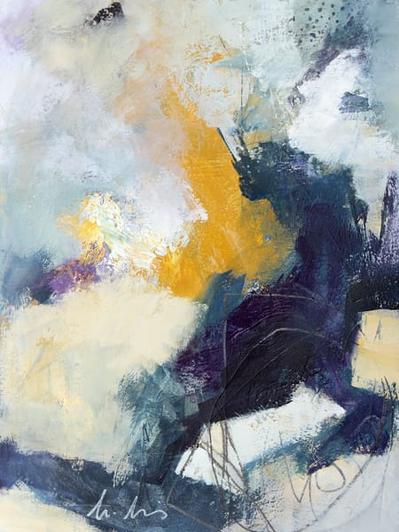 Brush Fire abstract painting in grey, blue and yellow by Canadian artist Marianne Morris