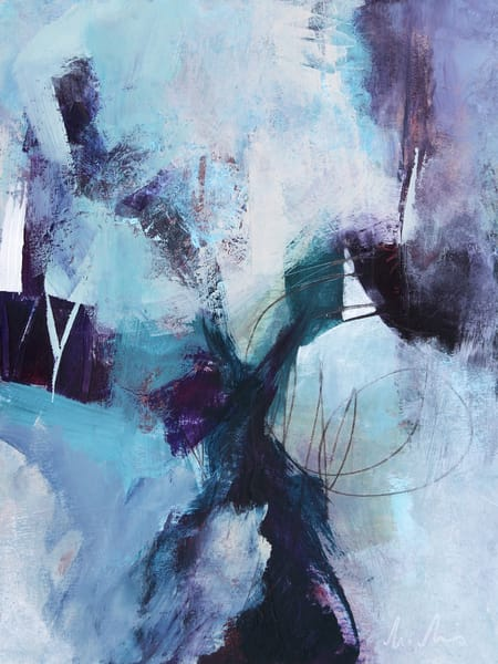 Crossing Over abstract painting in blue and violet by Canadian artist Marianne Morris