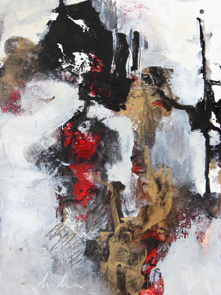 Winter Song abstract painting in black, gold and red by Canadian artist Marianne Morris