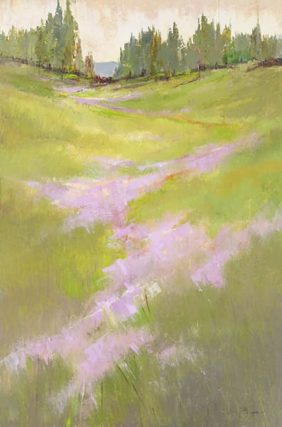 Scent of the Earth, semi abstract landscape painting by artist Sarah B Hansen