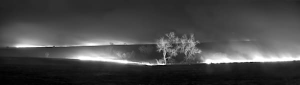 Americana fine art black and white photograph: Flint Hills Prairie Burn - bw. Stunning Kansas photograph by David Zlotky.