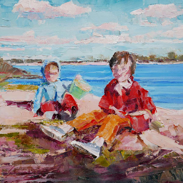 Original, oil painting, art, children, beach, small works, square, impressionist