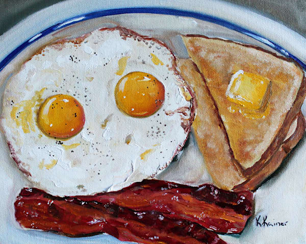 Bacon and Eggs Original Oil Painting and Prints by Food Artist Kristine Kainer