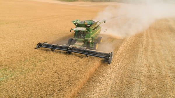 Harvesting Soft White wheat in the Palouse region of eastern Washington