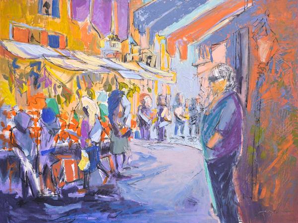 Original Painting Venice Street Scene, Fresh Market II by Dorothy Fagan