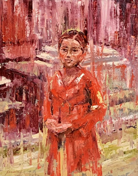 Original, oil painting, red, abstract, figurative, palette knife, girl, Bali