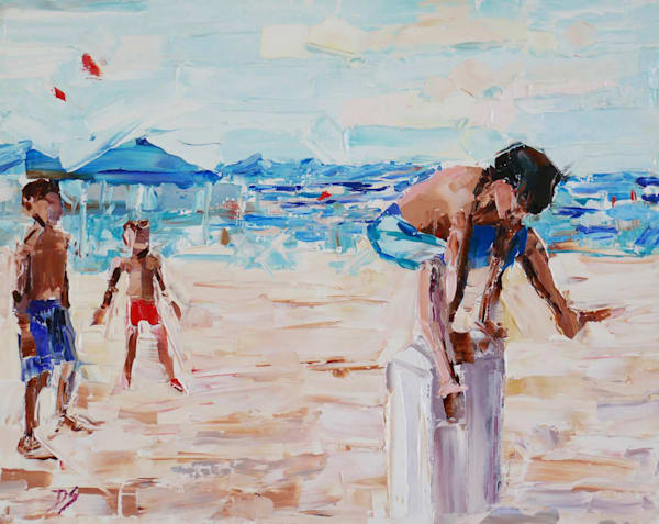art, oil painting, beach, summer, kids, blue, fun