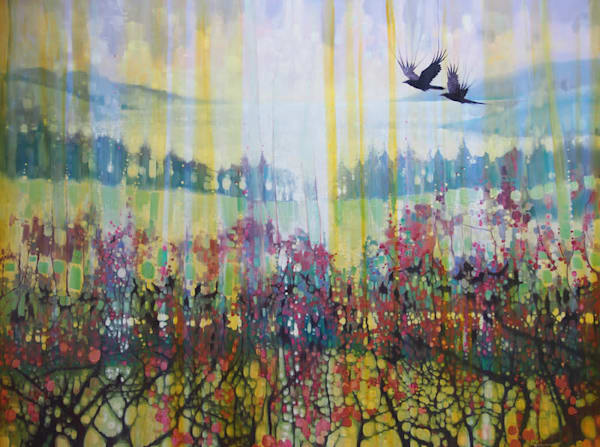 large magical golden landscape painting with ravens, crows, rookery, lakes, fields and trees.
