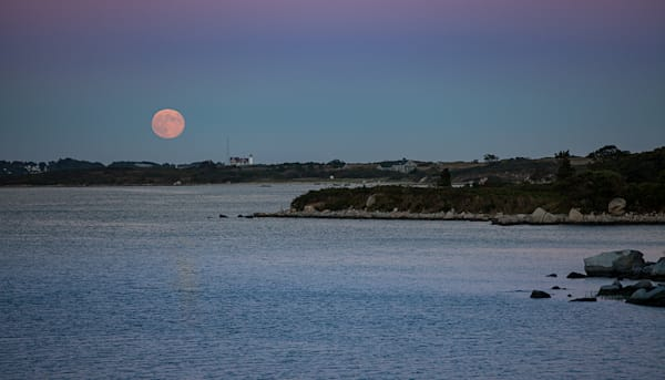 Moonrise Over Nobska Light, Woods Hole Ma Photography Art | Waterstreet Guild