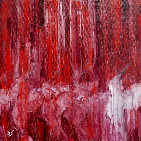 small works, red, abstract, hummingbird, original