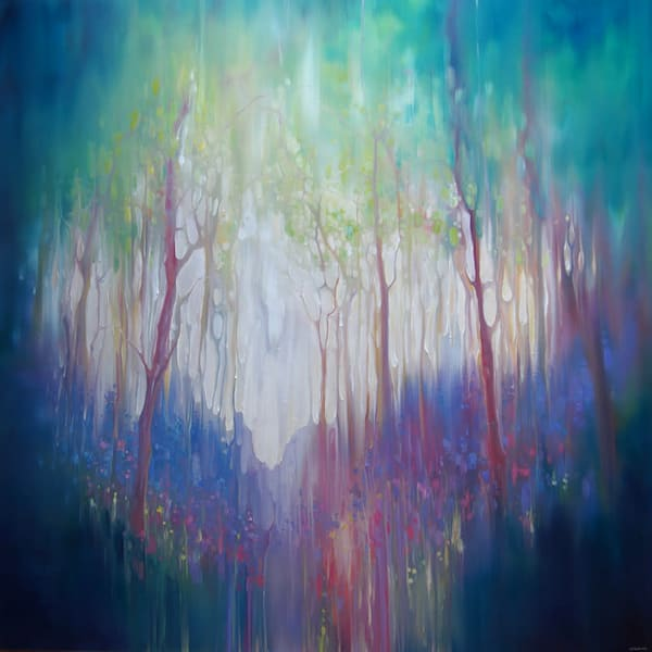 large woodland bluebell abstract oil painting on deep edge canvas, white edges, ready to hang