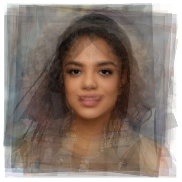 Overlay art – contemporary fine art prints of actress Tessa Thompson of Westworld, Creed, and Sorry to Bother You.