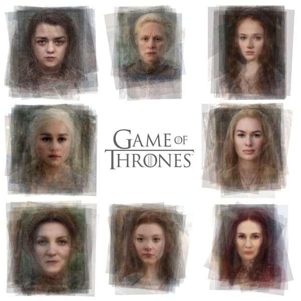 Overlay art – contemporary art print for sale of portraits of the women of game of thrones.