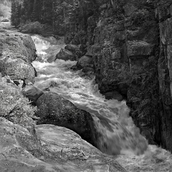 Luminous Light Collection - bw | Poudre' Rapids - bw. A black and white, square composition photograph by David Zlotky.