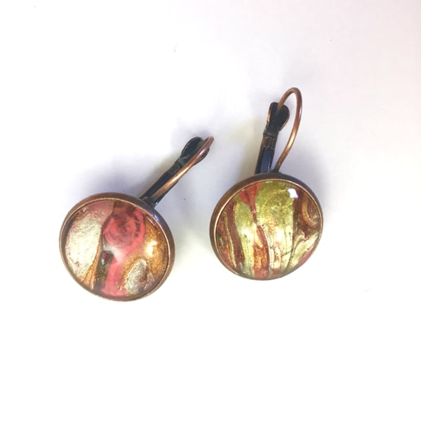 Hand Painted Earrings, Antique Copper Tone