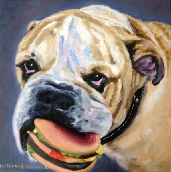 Wanna Bite, an open edition fine art print of an English bulldog holding a toy hamburger in his mouth