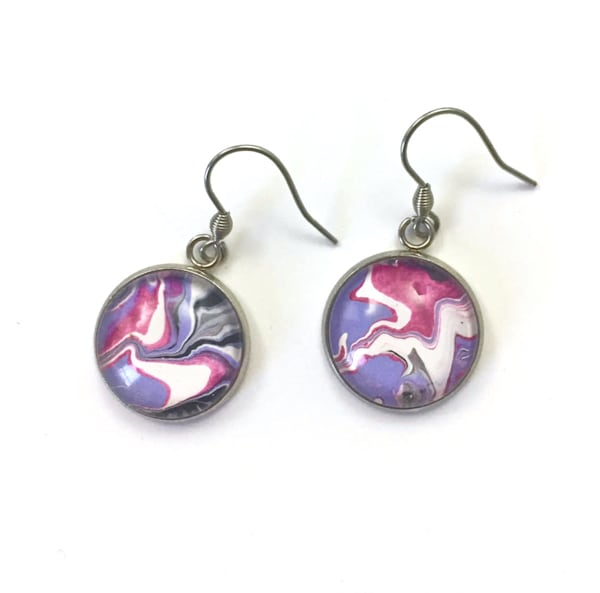 Hand Painted Earrings, Stainless Steel