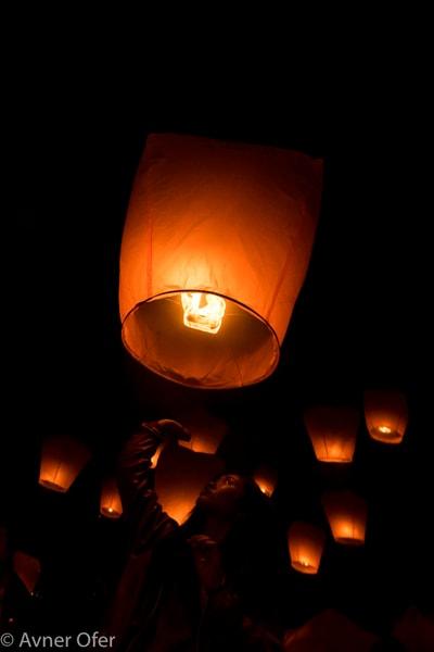 Sending a lantern to the sky