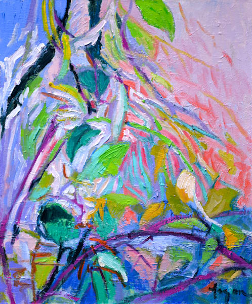 Abstract Trees, Branches, Original Oil Painting by Dorothy Fagan