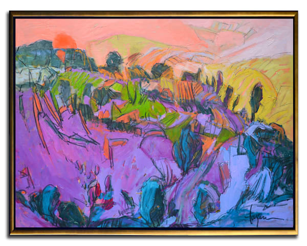 Purple Mountain Landscape Painting, Vermillion Sunset by Dorothy Fagan