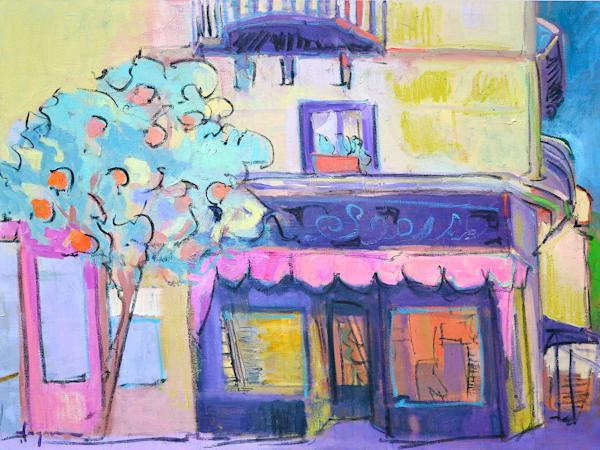 Italian Street Scene, Tangerine Tango by Dorothy Fagan